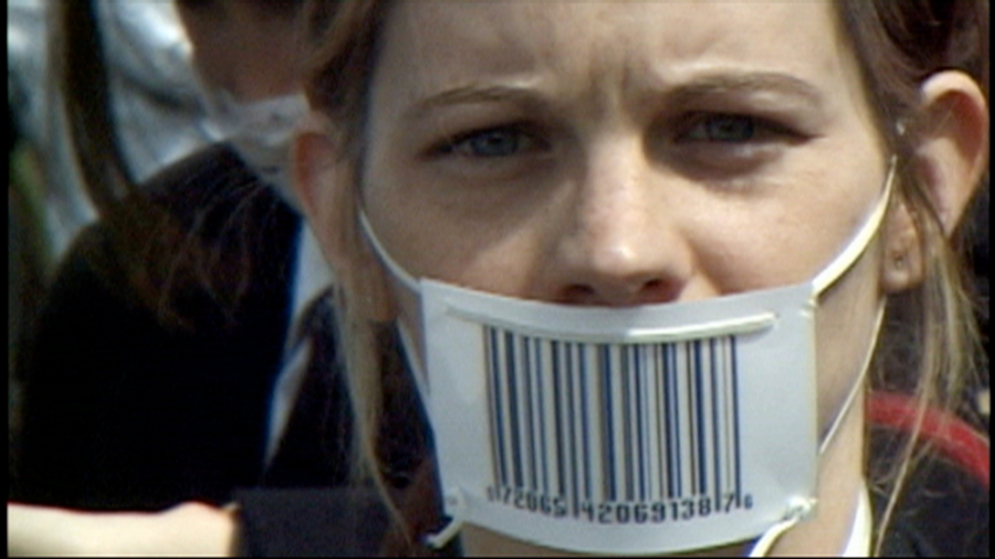 Girl with Barcode Mask